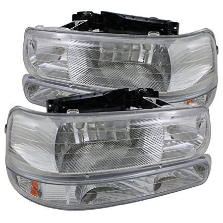 Chevy Silverado 1500/2500 / Chevy Silverado 3500 / Chevy Suburban 1500/2500 / Chevy Tahoe Amber Crystal Headlights With Bumper Lights - Chrome