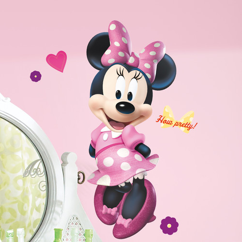 Room Mates Popular Characters Mickey And Friends Minnie Bowtique Giant Wall  Decal