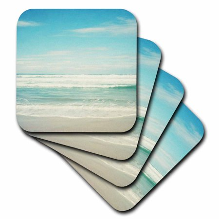 Beach Stone Coasters (3dRose Gentle Ocean Waves beach theme art, Soft Coasters, set of 8)