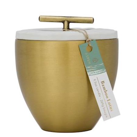 BAMBOO LOTUS Aspen Bay Metal Austin Cup 9.5 Ounce Signature Collection  Scented Jar Candle