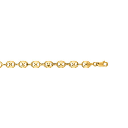 14K Yellow Gold 7mm Diamond Cut Puffed Mariner Link Chain 24 Necklace Fancy Lobster Clasp Diamond Accent Bracelet And Necklace