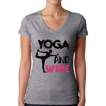 Awkward Styles Women's Yoga and Wine V-neck T-shirt Workout