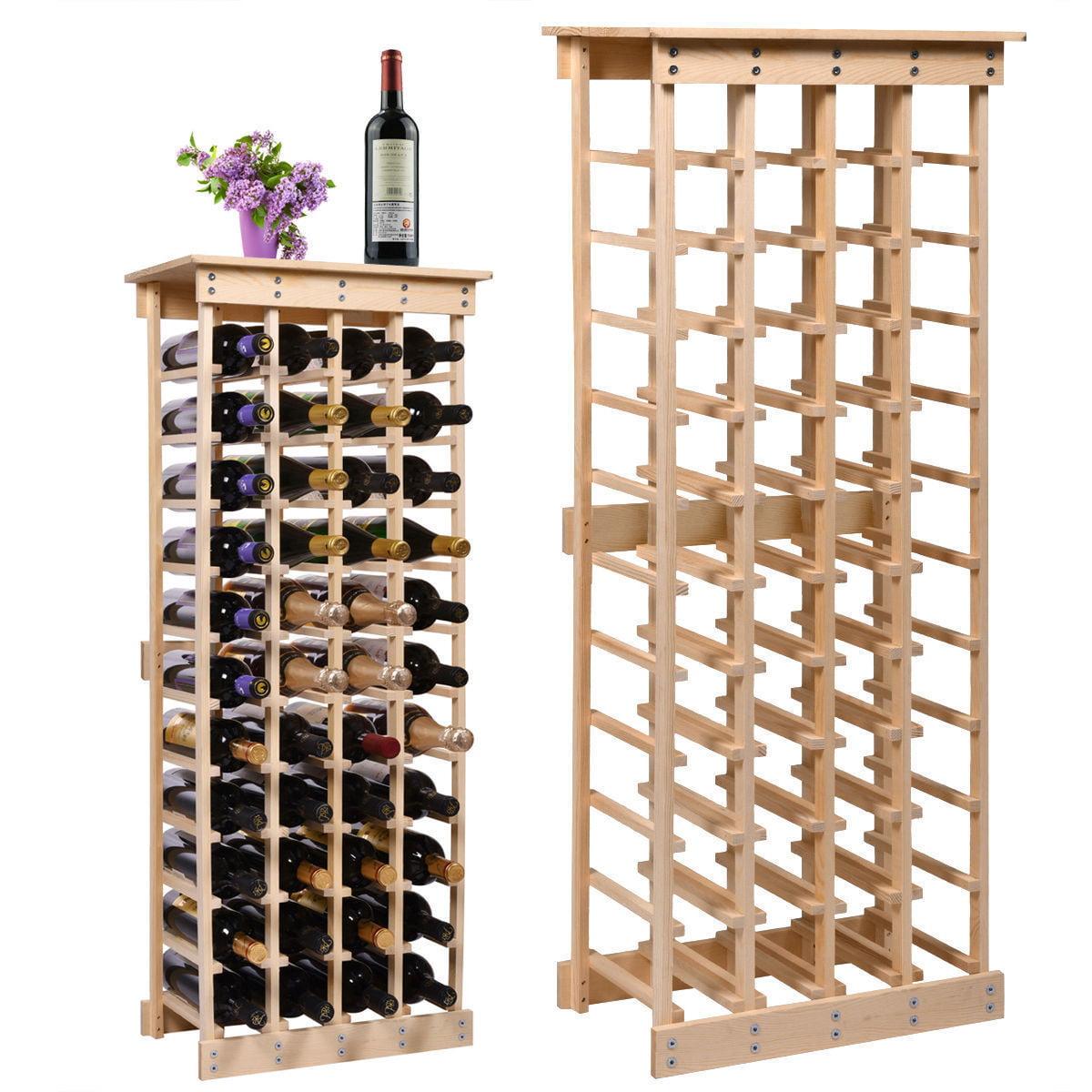 44 Bottle Wood Wine Rack Storage Display Shelves Kitchen Decor Natural