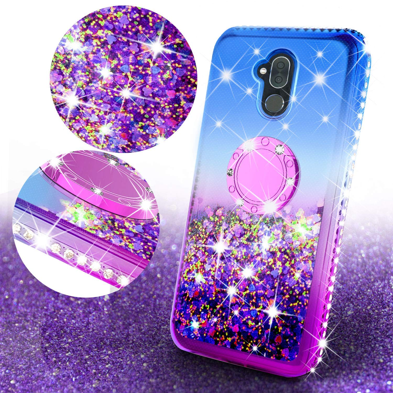 Alcatel 7 / Revvl Plus 2 Case,Liquid Glitter Cute Phone Case Girls Kickstand,Bling Diamond Rhinestone Bumper Ring Stand Sparkly Clear Soft Protective for Girl Women (Purple)