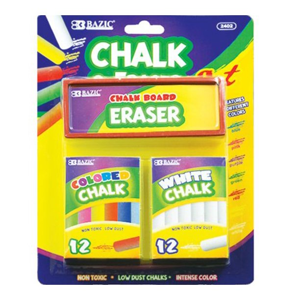 BAZIC 12 Color and 12 White Chalk with Eraser Sets, Assorted