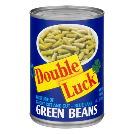 (6 Pack) Double Luck Green Beans, short Cut, 14.5 Oz