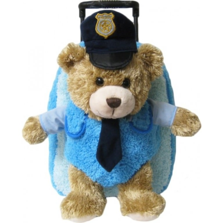 Kids Blue Police Officer Teddy Bear Animal Plush Luggage Toddlers Roller Backpack by Kreative