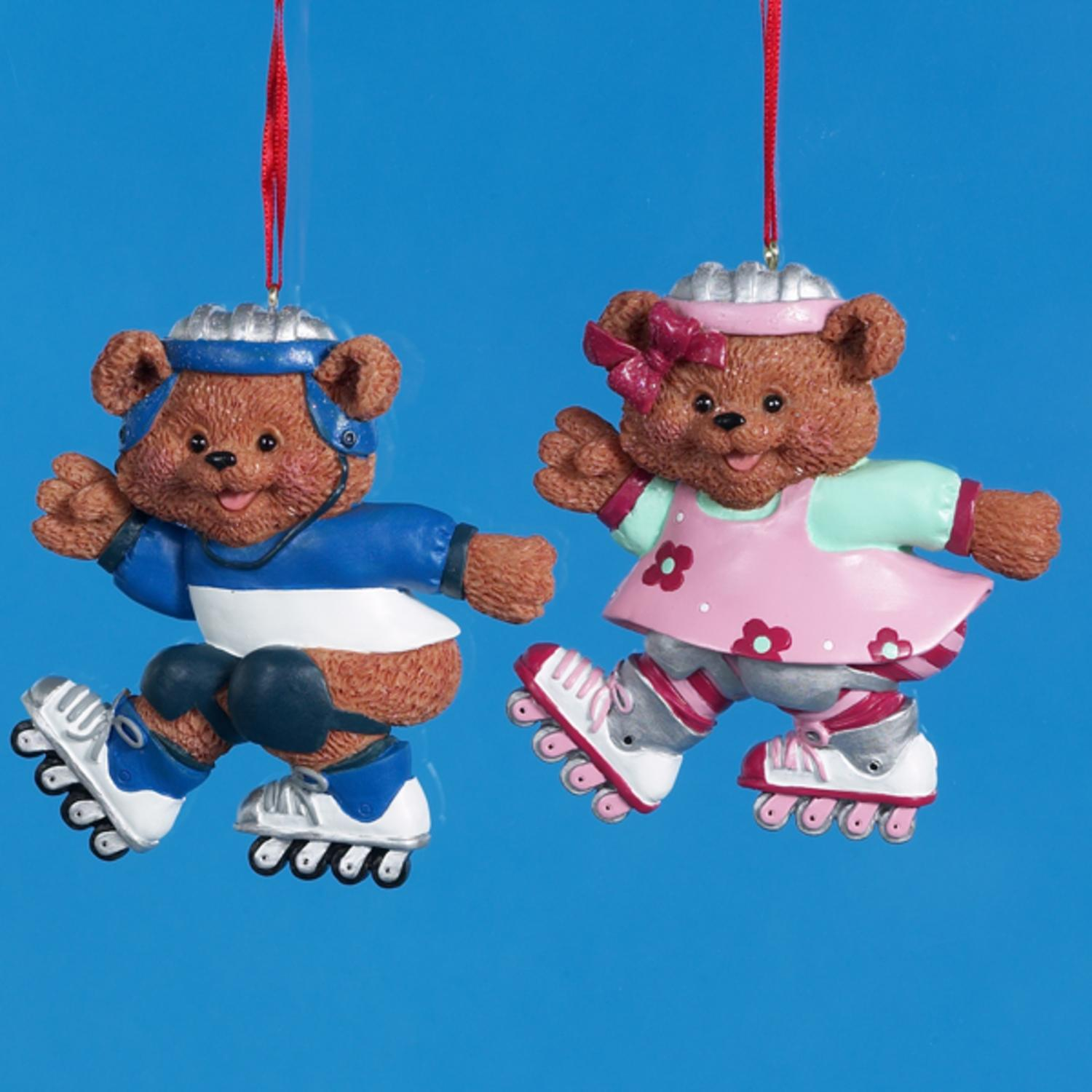 Pack of 12 Roller Skate Boy & Girl Bear Christmas Ornaments for Personalization