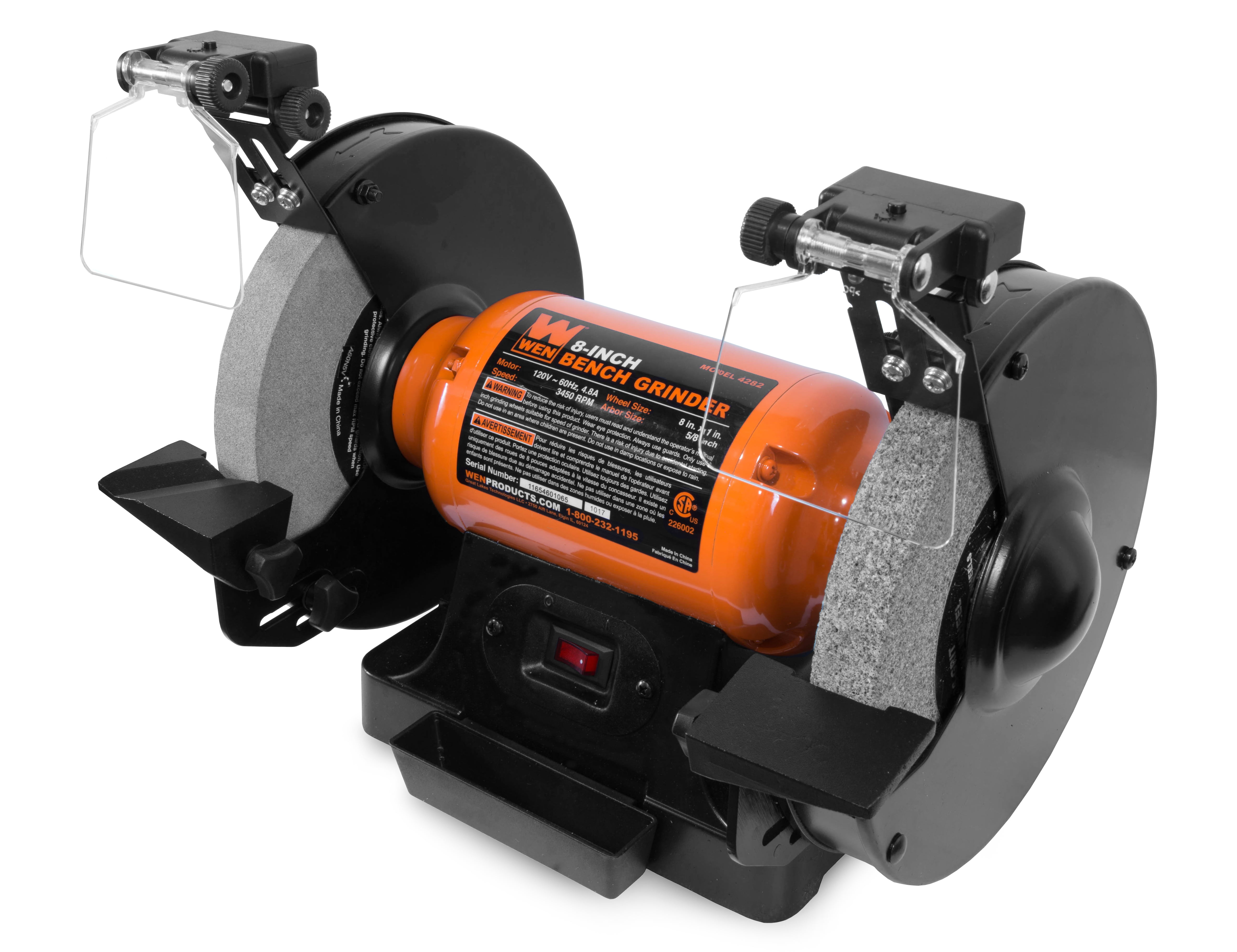 Wen 4 8 Amp 8 Inch Bench Grinder With Led Work Lights And Quenching