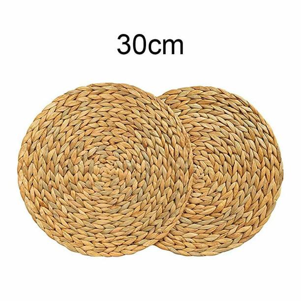 Cattail Straw Round Woven Placemats, Round Straw Rattan Rug