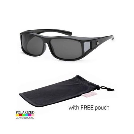 11e779aefc Sunny Shades - POLARIZED cover put over Sunglasses wear Rx glass fit driving  LARGE Black POUCH - Walmart.com