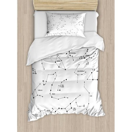 Ambesonne Constellation Astronomic Theme Group of Stars Names Classical Scientific Composition Duvet Set