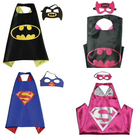 4 Set Superhero  Costumes - Capes and Masks with Gift Box by - Super Hero Customes