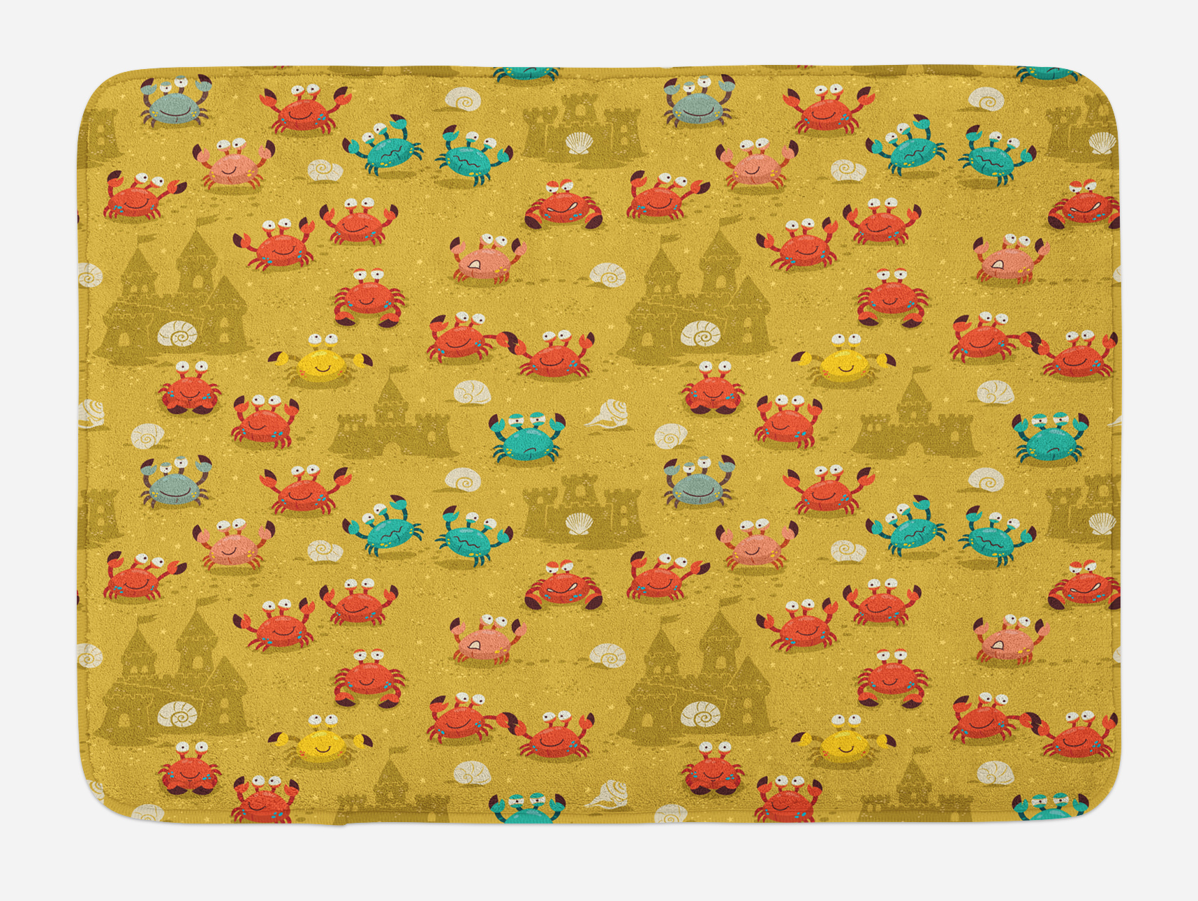 Crabs Bath Mat, Children Themed Cartoon Style Crabs and Shells and a Sand Castle on Beach... by 3decor llc