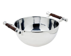 Bamboo Handle Metal Serving Salad Bowl Dish by Godinger