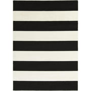 2' x 3' Bold Stripes Black and Snow White Decorative Area Throw Rug