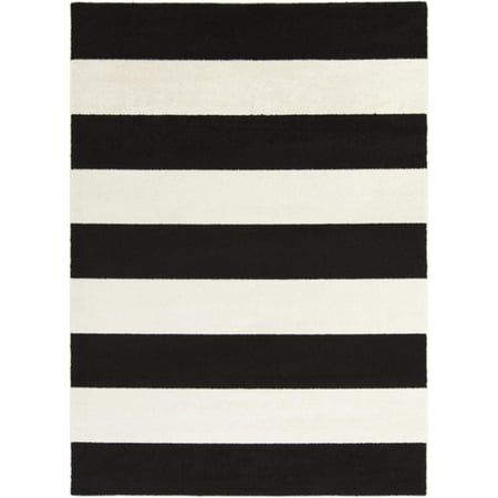 bold stripes black and snow white decorative area throw rug
