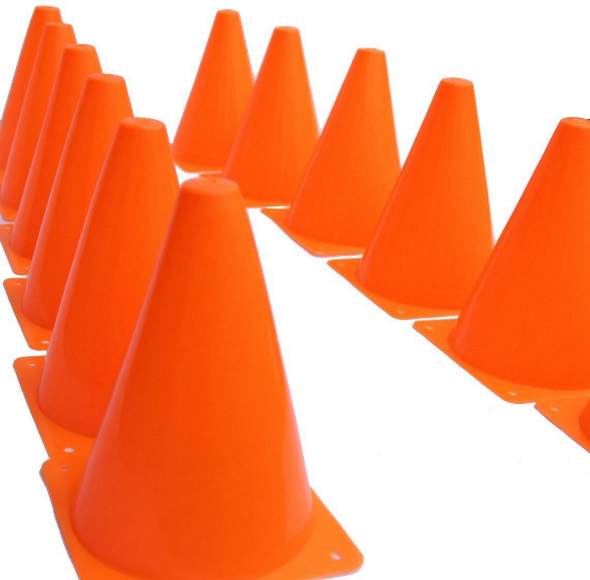 Novelty Place [Multi-Purpose] Neon Orange Sport Training Activity Cones Traffic Construction Safety Cone for Kid and Adult - 7 Inch (Pack of 12)