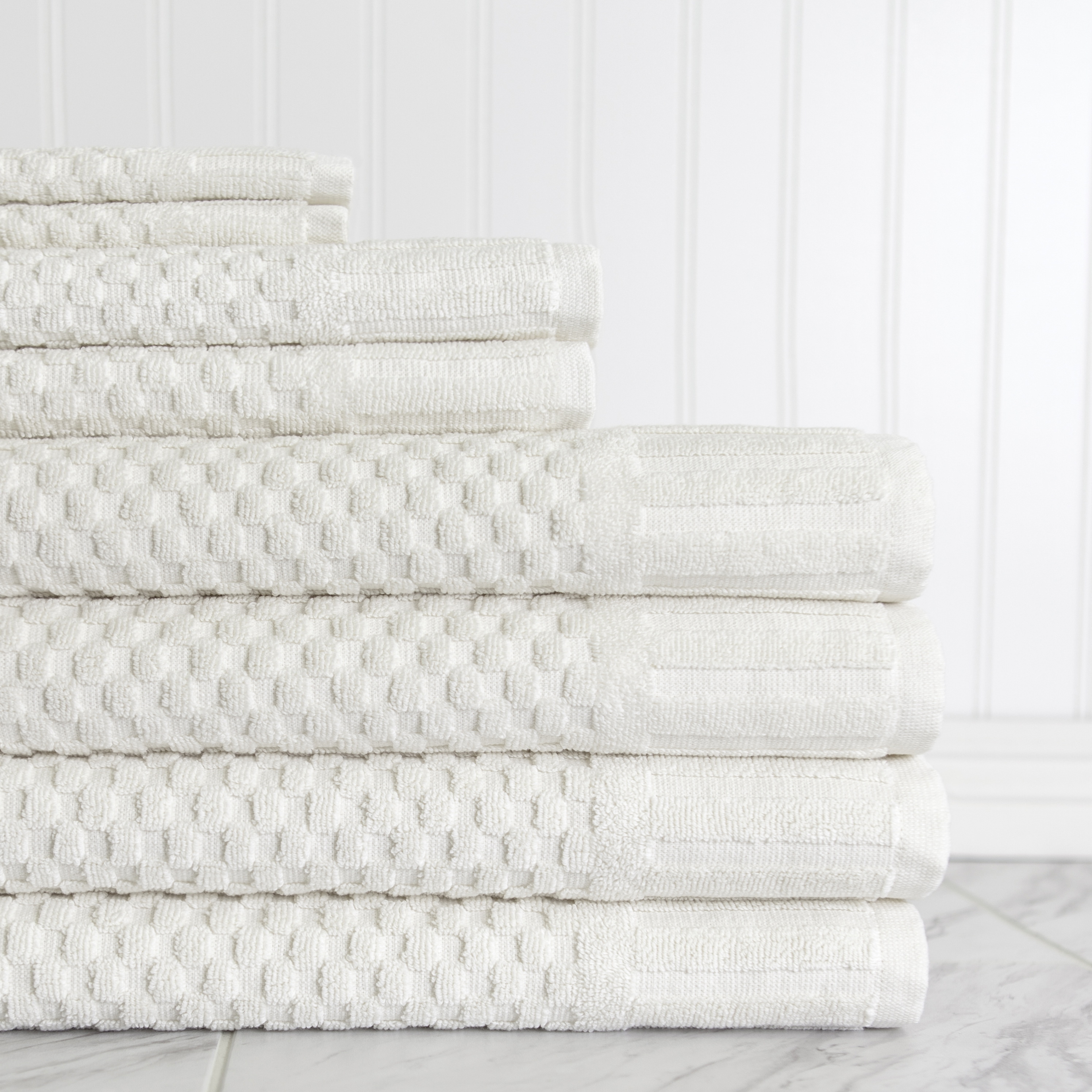 Milo Hotel Luxe 8 Piece Textured Towel Set in Blue by American Dawn