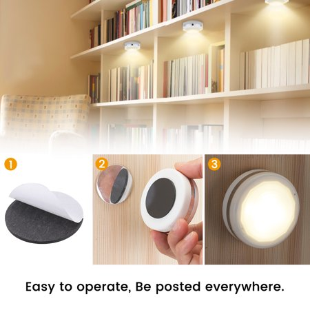 Wireless LED Puck Lights, Kitchen Under Cabinet Lighting with Remote Control, Battery Powered Dimmable Closet Lights 6-Pack For Kitchen, Closet, Cabinet, Bookcase, Basement - image 8 de 10
