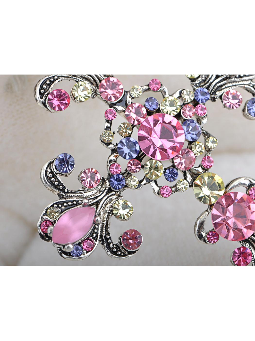 Chic Repro Bright Pink Pastel Holy Flowery Cross Pin Brooch by