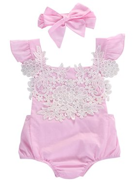 0d49dc8971e9 Product Image StylesILove Infant Baby Girl Ruffled Cap Sleeve Floral Lace  Romper and Headband (60 0