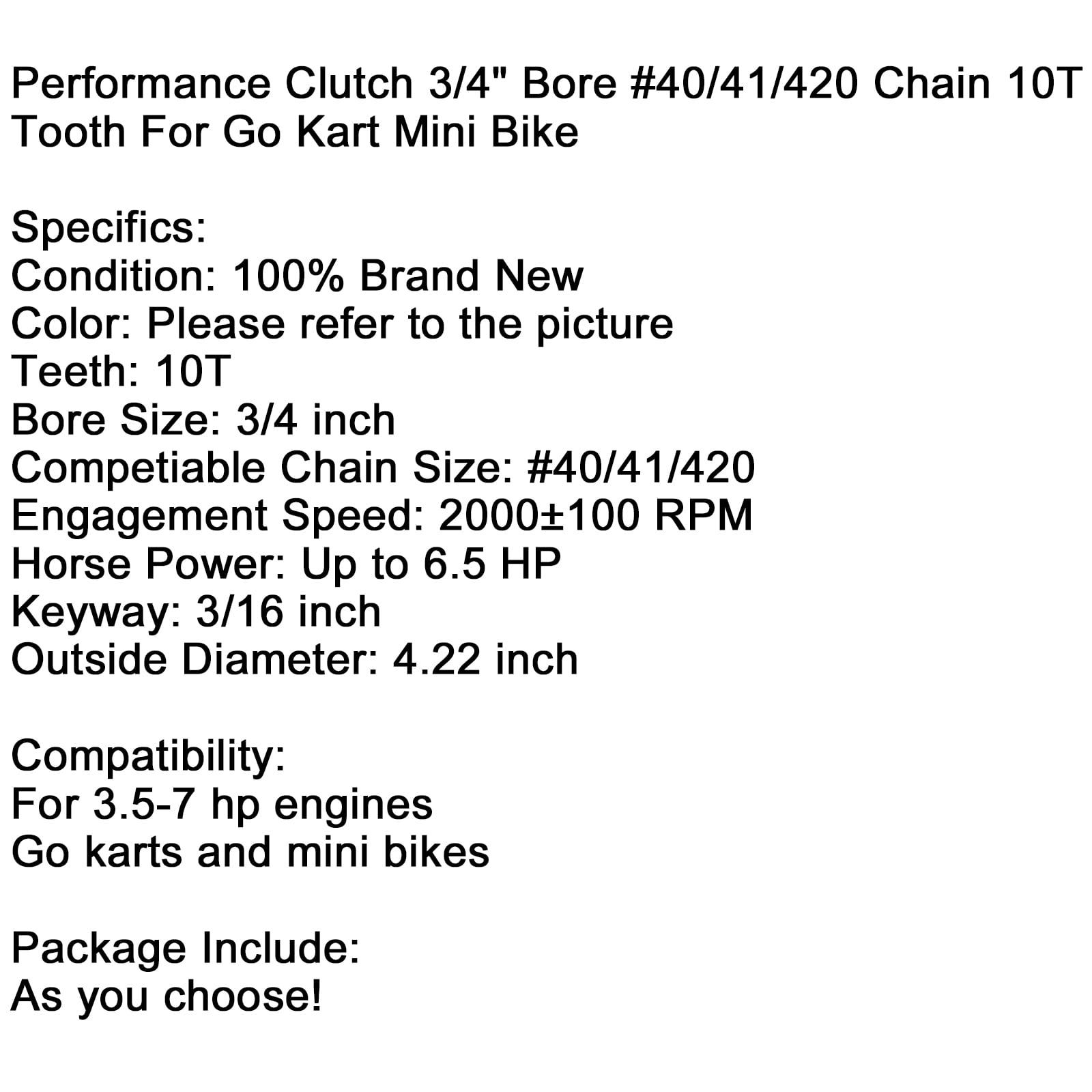 """Performance Clutch 3//4/"""" Bore #40//41//420 Chain 10T Tooth For Go Kart Mini Bike SL"""