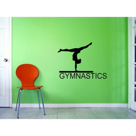 Flip Flop Decals (Custom Wall Decal Gymnastics Flipping Tumble Balance Beam Sports Girl Vinyl Wall Decal Sticker 14x28 Inches )