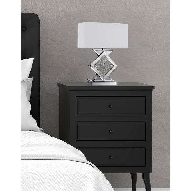 20 In Cosmos Black Crystal Ice Mirror Diamond Shape Bedside Table Lamp Walmart Com