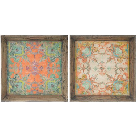 A&B Home Square Wooden Decorative Trays, Set of 2