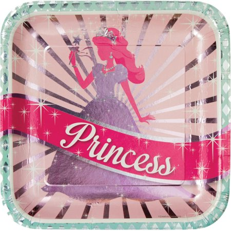 Club Pack of 96 Princess Party Disposable Square Foil Paper Banquet Dinner Plates 9
