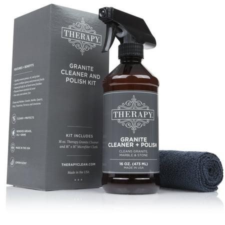 Therapy - Granite Cleaner and Polish Kit with Large Microfiber Cloth, 16 fl. - Kit Gunite