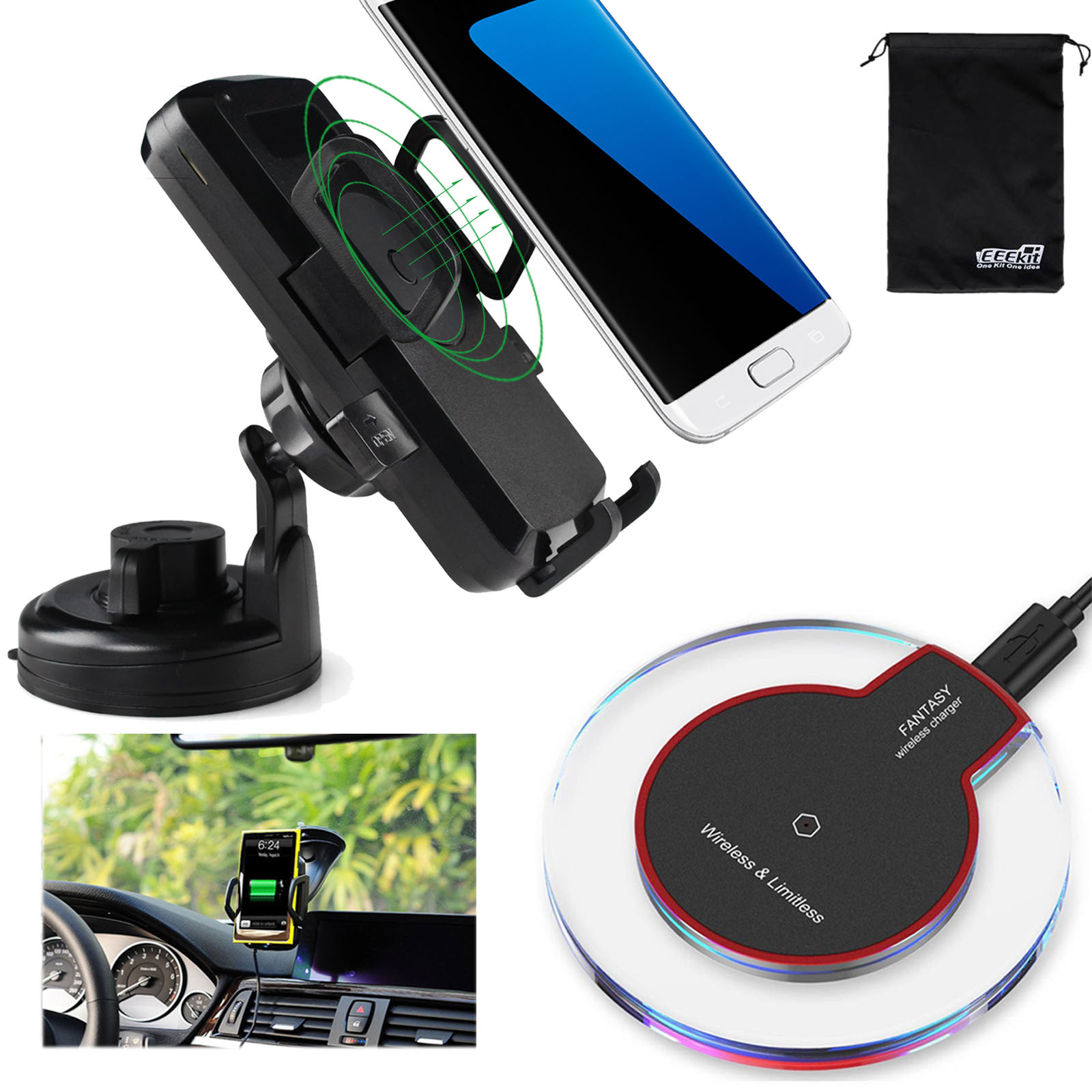 Qi Wireless Charging Car Mount+Wireless Charger Pad for Samsung Galaxy S9 S8 S7 S6 Edge /Plus Note 9 8 5, EEEKit 2in1 Kit
