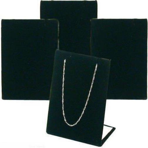 4 Black Velvet Pendant Chain Necklace Display Stand