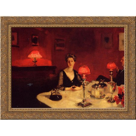 A Dinner Table at Night 24x20 Gold Ornate Wood Framed Canvas Art by Sargent, John Singer