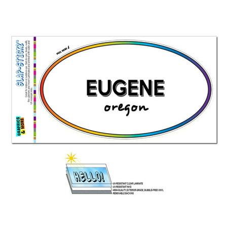 Eugene, OR - Oregon - Rainbow - City State - Oval Laminated Sticker - Party City Eugene Oregon