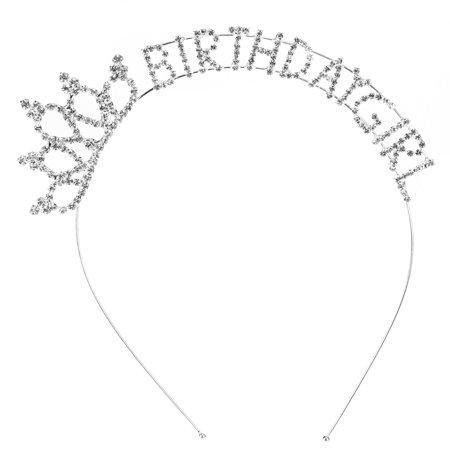 Tiara Rhinestones Crystal Bridal Headband Pageant Princess Crown Happy Birthday Girl Crown Comb Pin Hair Hoop