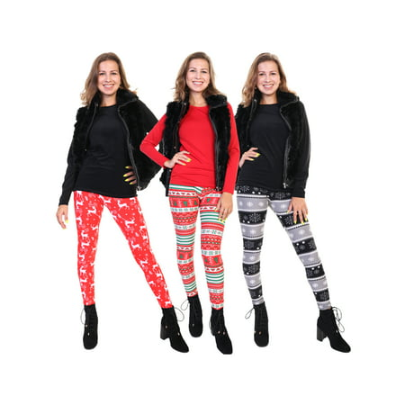 Angelina Women's and Kids' Matching Mommy and Me Holiday Print Leggings 3-Pack (Adult & Kid Sizes Sold Separately)