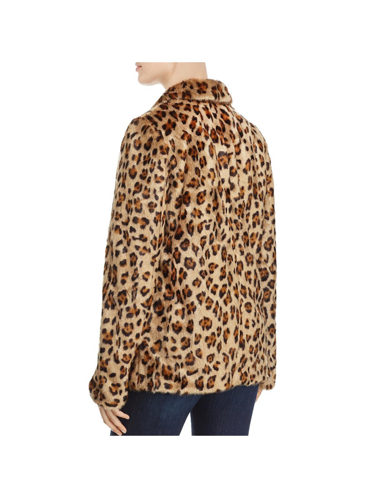 ae792f9dac5c Theory - Theory Womens Clairene Winter Leopard Print Faux Fur Coat -  Walmart.com