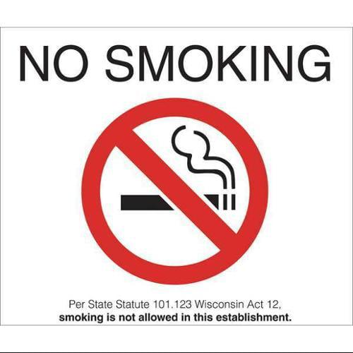 ZING 1881D No Smoking Decal,WIO,7inWx5inH,PK2 G1862817