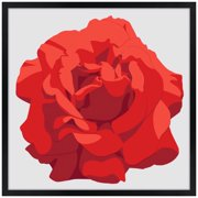 "Artisan 5 Perfect Rose Red Giclee 21"" Square Black Frame Wall Art"