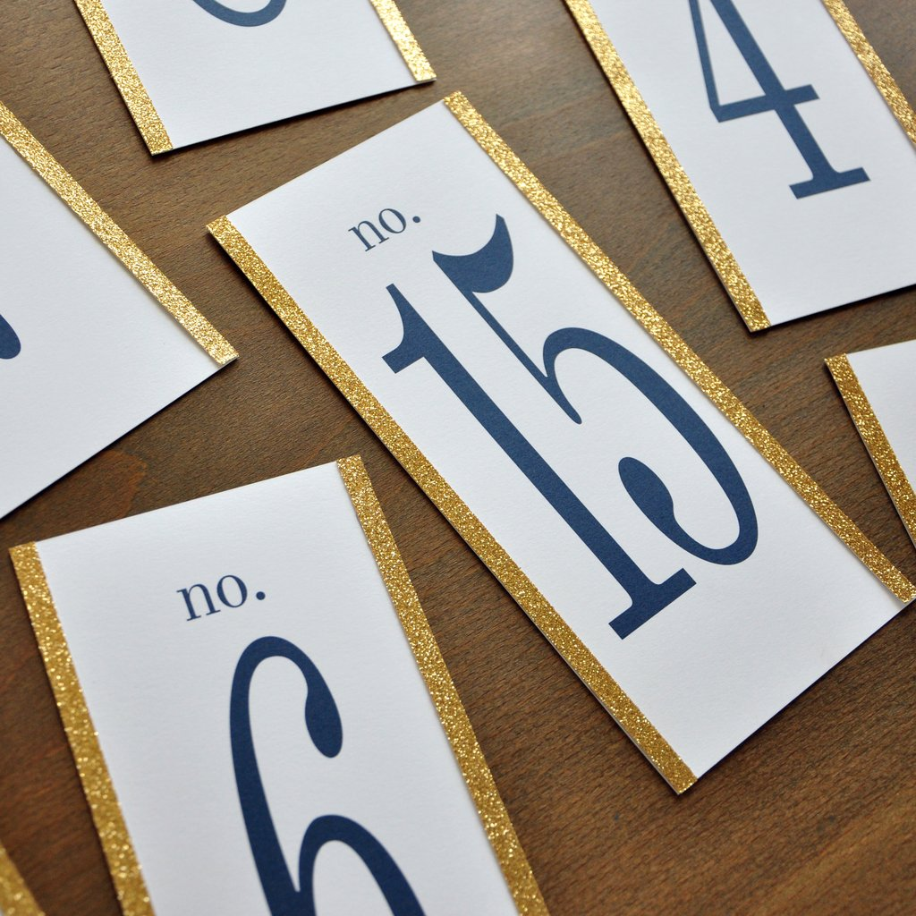 Table Numbers 1-15. Navy and Gold Wedding Decor. Large Table Numbers. Table Number Cards.