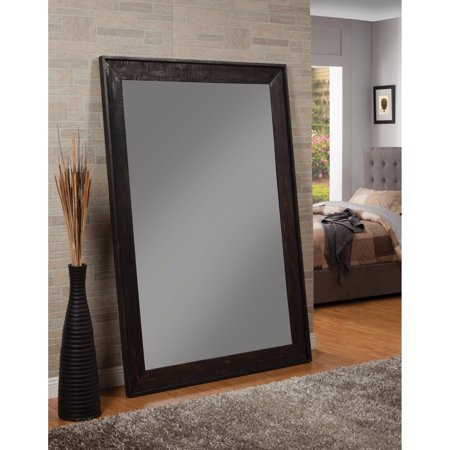 Distressed Floor Mirror With Wooden Frame, Black - Walmart.com