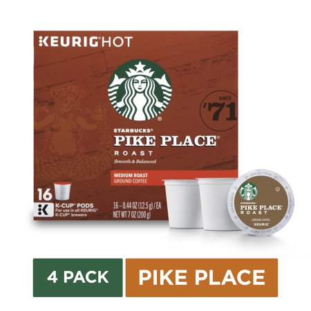 Starbucks Pike Place Roast Medium Roast Single Cup Coffee For Keurig Brewers, 4 Boxes Of 16 (64 Total K-cup (Best K Cup Coffee Brands)