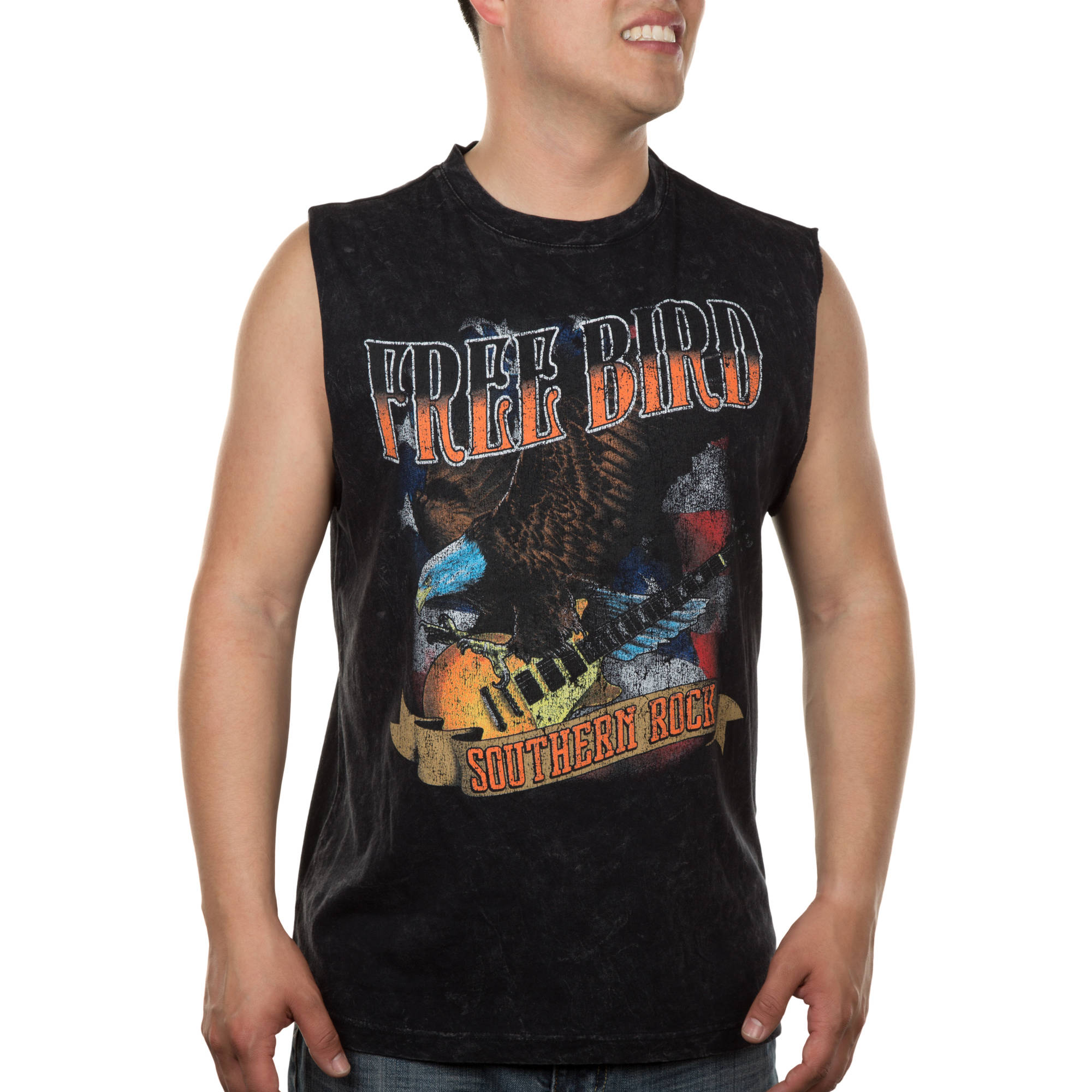 Lyric Culture Men's Distressed Wash Muscle Tank