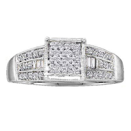 Cut Micro Pave Diamond (0.25 Carat (ctw) 18K White Gold Round & Baguette Cut White Diamond Ladies Micro Pave Promise Engagement Ring 1/4 CT )