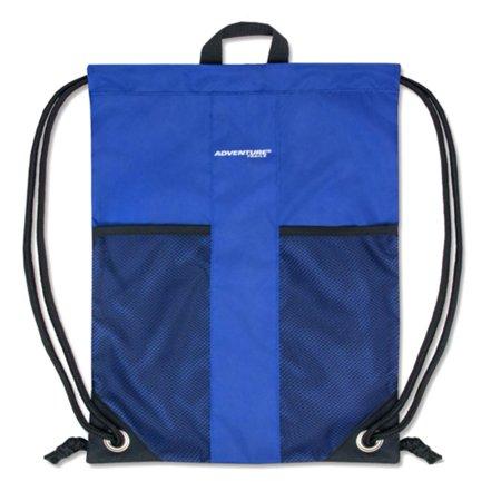 Adventure Trails Unisex Blue Front Mesh Pocket Drawstring Backpack 18