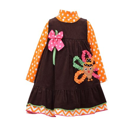 Bonnie Jean Little Girls Thanksgiving Turkey Jumper Dress Set 2T