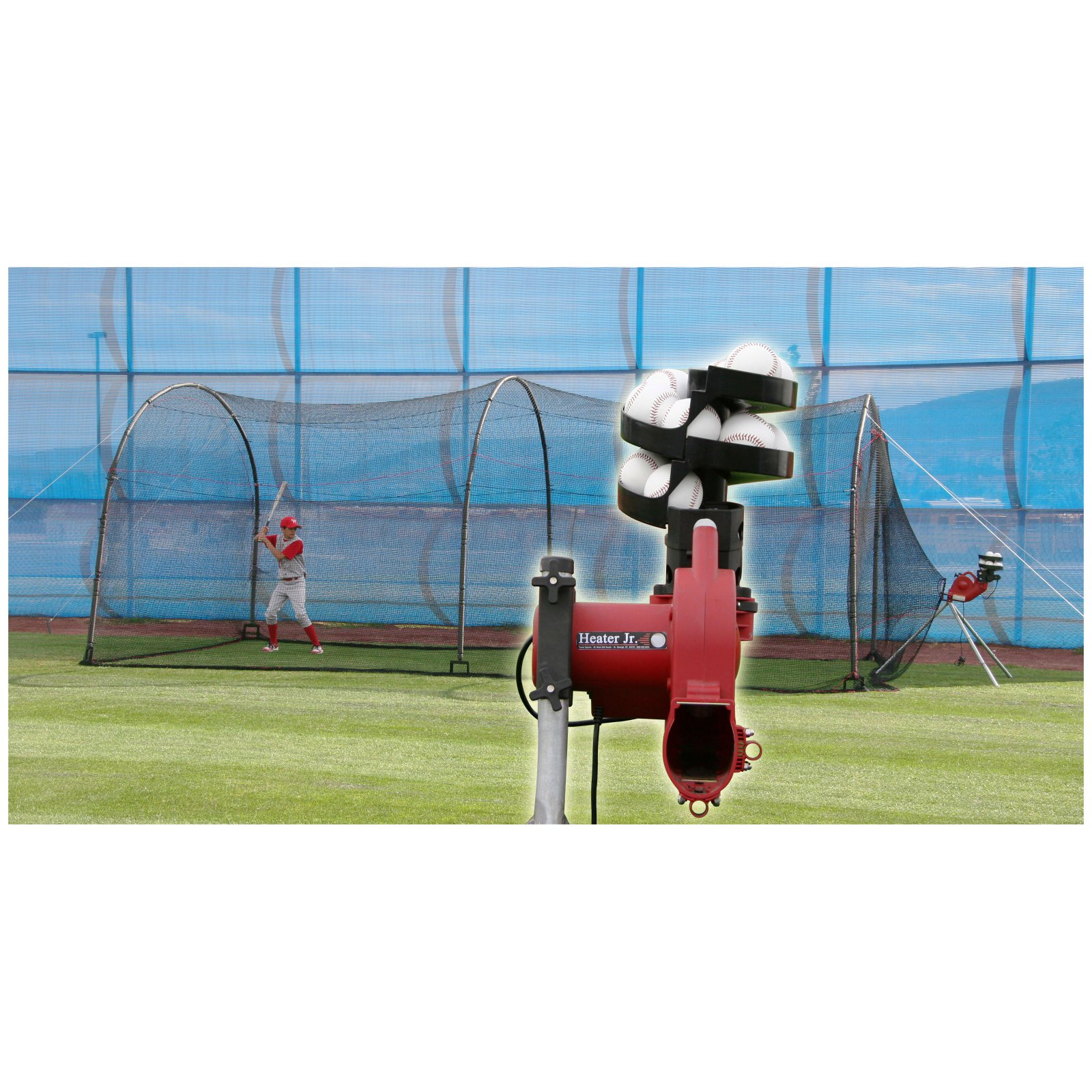 Heater Sports 24 ft. Jr. Pitching Machine & Xtender 24ft Batting Cage Package