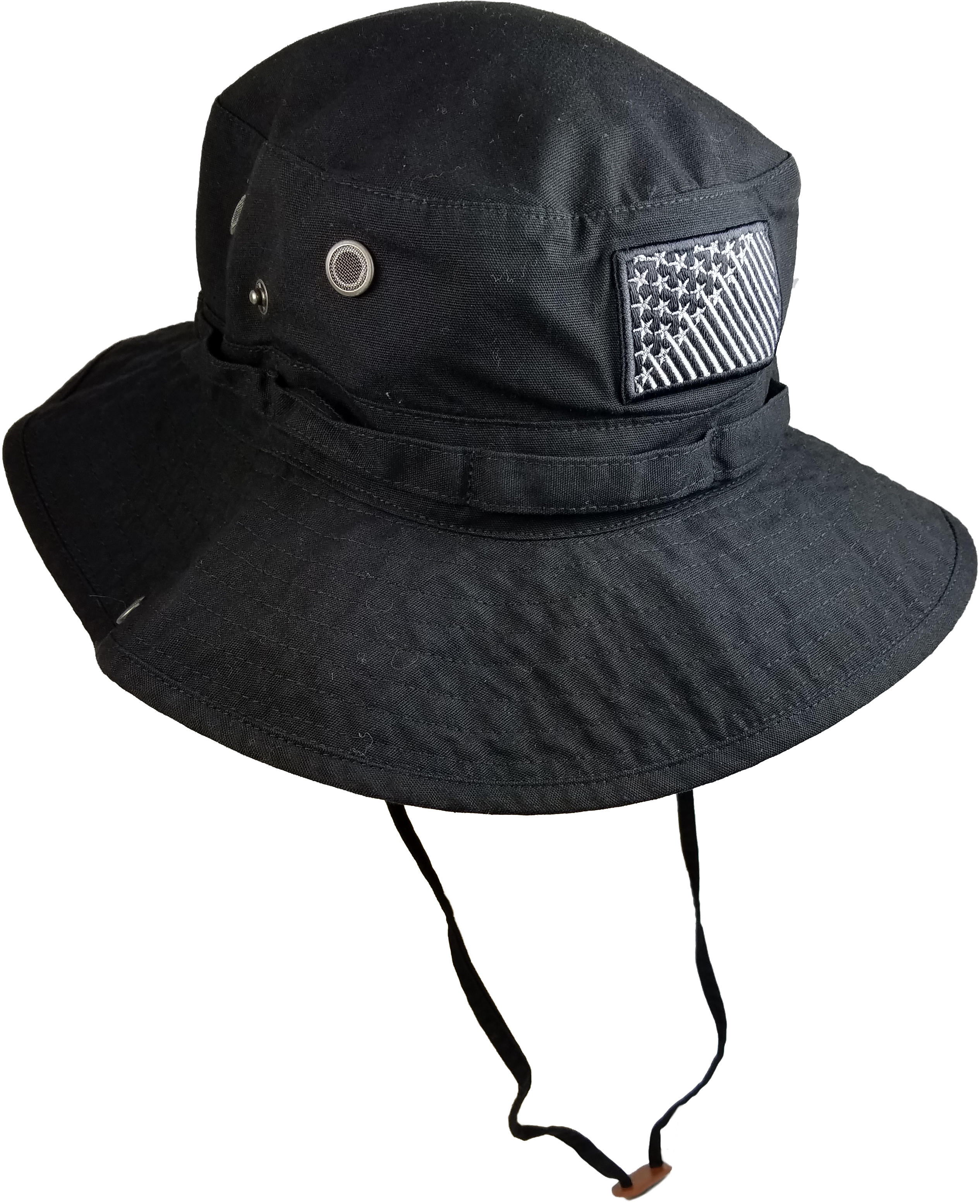 caf66ffb97a Men s Black Tonal Stars Cotton Boonie Hat with Adjustable Strap ...